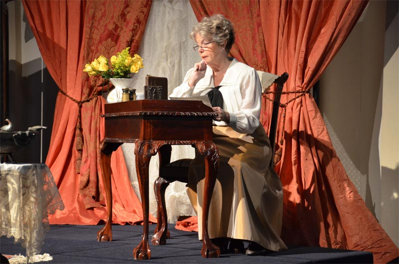 Jane Fellows first portrayed Lou Hoover in 2014 at the Newberg Friends Church. The performance received glowing praise. Photo by Steve Young.
