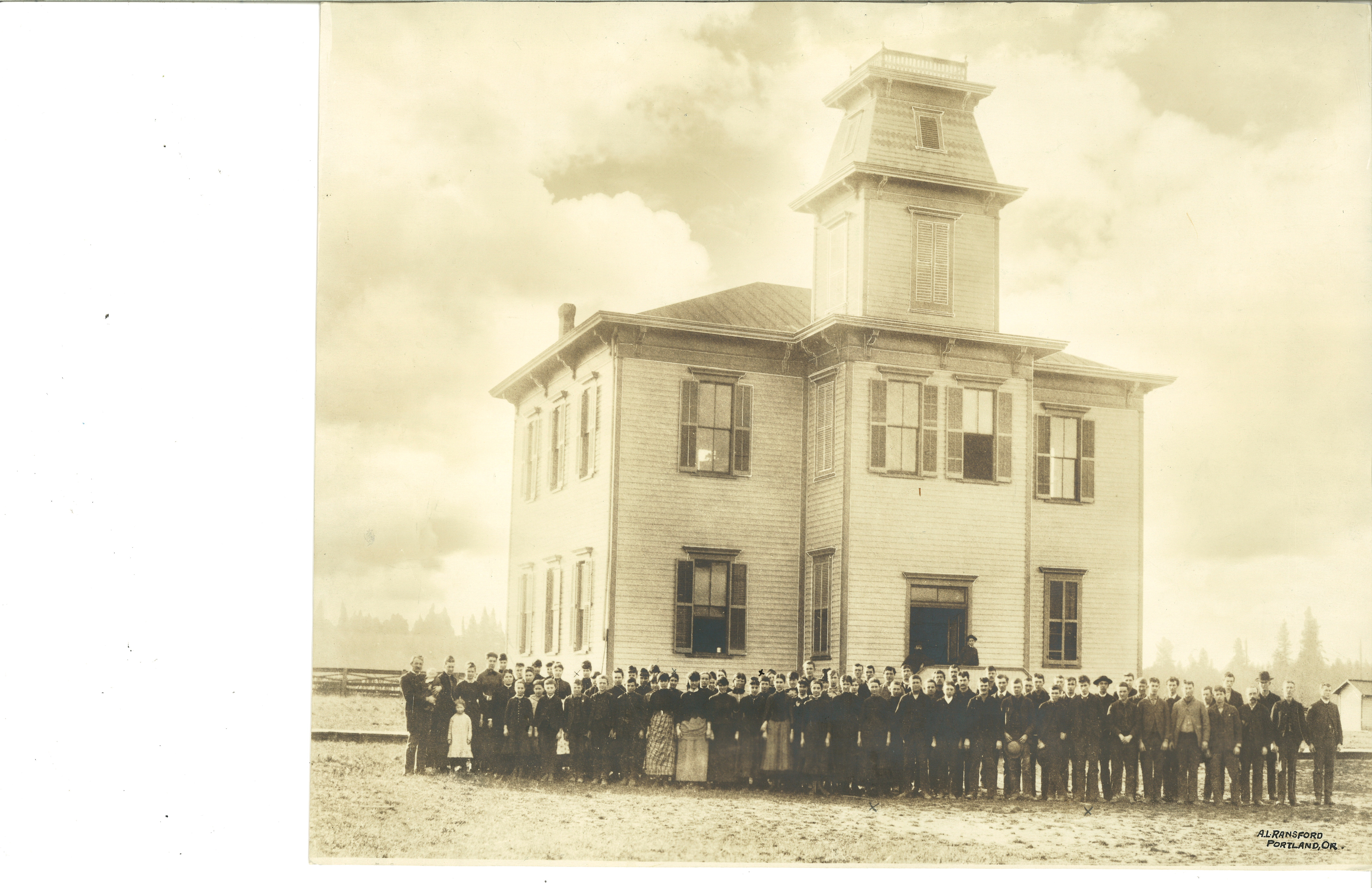 The Friends Pacific Academy, established in 1885, was originally at the site of the Newberg Friends Church, and moved to the current site of the George Fox University campus in 1892. It was damaged in a fire in 1947 but stood on the site of the Hoover Academic building until 1955.