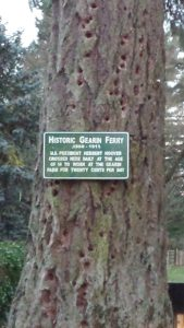 Sign at the site of the Gearin Ferry at the end of Dog Ridge Road in Newberg. Photograph by Sarah Munro.