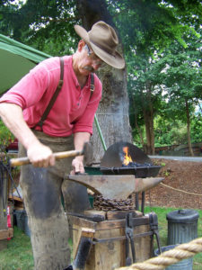 Gary Lewis of Lone Wolf Forge demonstrated blacksmithing